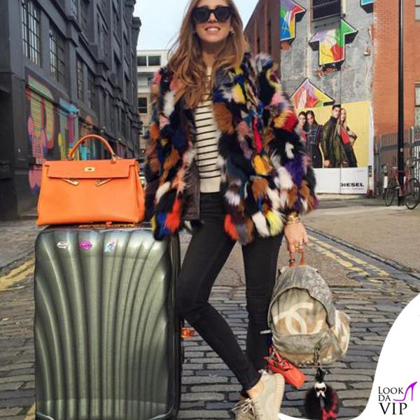 Chiara Ferragni borse Hermes Fendi e Chanel sneakers Yeezy Adidas charm Fendi Karlito valigia Samsonite