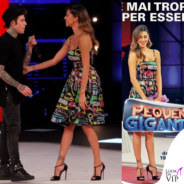 low priced 8812f 77471 Belen Rodriguez Pequenos Gigantes abito Moschino 10 - Look ...