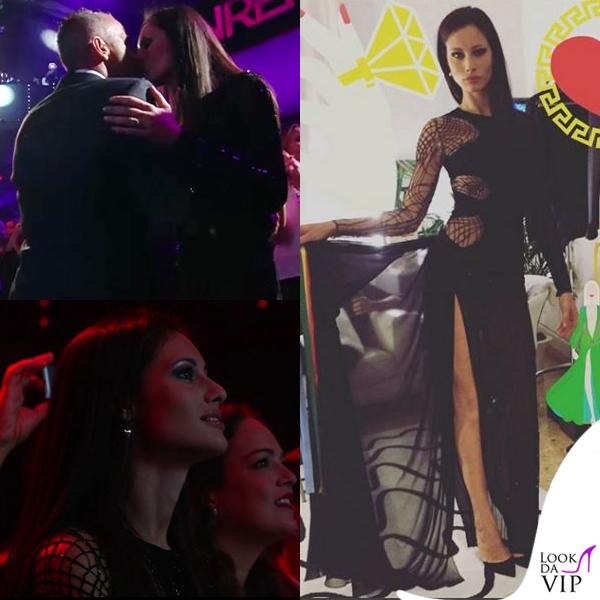 Sanremo 2016 seconda serata Marica Pellegrinelli abito Atelier Versace Eros Ramazzotti total Neil Barrett