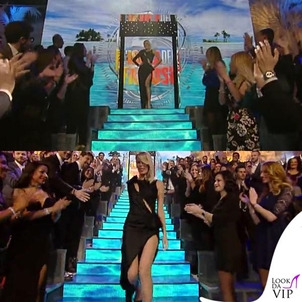 Alessia Marcuzzi Isola dei Famosi prima puntata abito Versace 2
