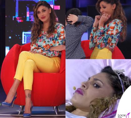 Belen Rodriguez Pequenos Gigantes terza puntata cardigan pantaloni Moschino scarpe Lerre
