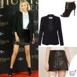 Charlize Theron camicia Stella McCartney giacca Saint Laurent scarpe Tabitha Simmons 2