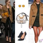 Gigi Hadid giacca Versace scarpe Kurt Geiger Britton borsa Miu Miu Dahlia occhiali Krewe 2