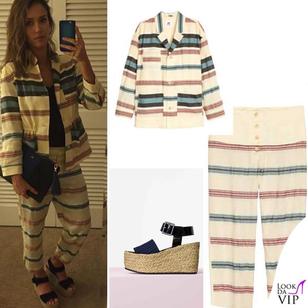 Jessica Alba giacca pantaloni H&M scarpe Celine borsa Target 2