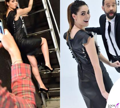 Miriam Leone Fabio Volo Le Iene abito Vionnet pump Jimmy Choo gioielli Delfina Delettrez