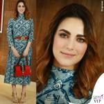 Miriam Leone abito borsa scarpe cintura Gucci