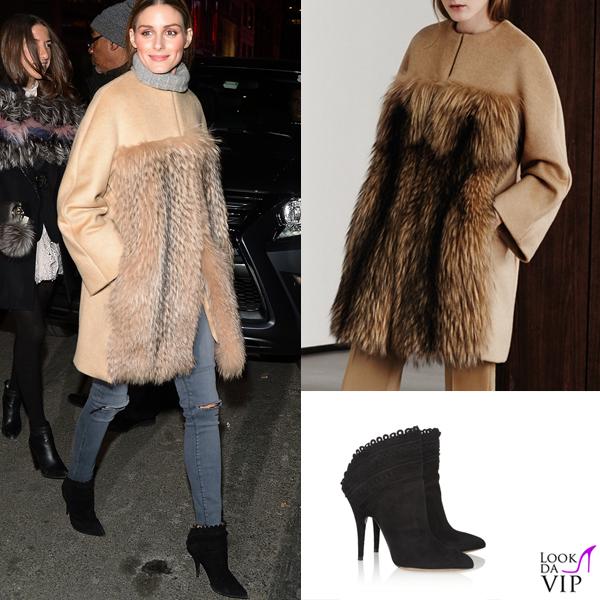 Olivia Palermo cappotto Max Mara maglione Zadig et Voltaire jeans Black Orchid scarpe Tabitha Simmons 2