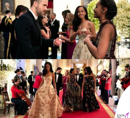 Ryan Reynolds, Malia, Sasha, Michelle e Barack Obama Canada State Dinner abiti Naeem Khan e Jason Wu