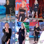 Alessia Marcuzzi naufraga in nero Versace