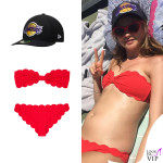 Behati Prinsloo bikini Marysia cappello New Era Los Angeles Lakers 2