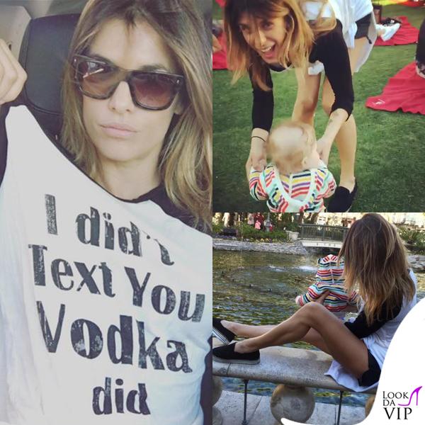 Elisabetta Canalis tshirt I didnt text you vodka did Skyler Eva felpa Gap