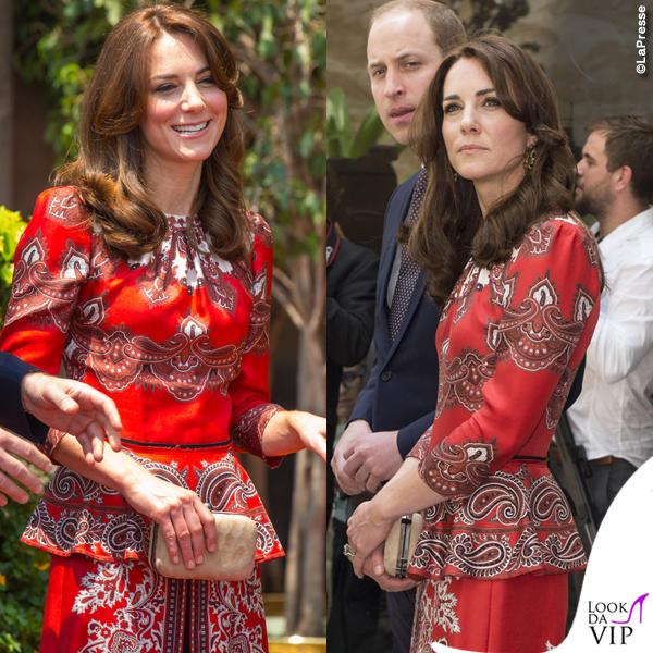 Kate Middleton India primo giorno abito Alexander McQueen pump LK Bennett clutch Russell & Bromley orecchini Cassandra Goad