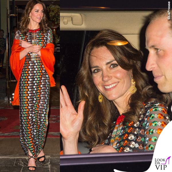 Kate Middleton India quinto giorno abito Tory Burch sciarpa Pickett London sandali Gianvito Rossi orecchini Brora 2