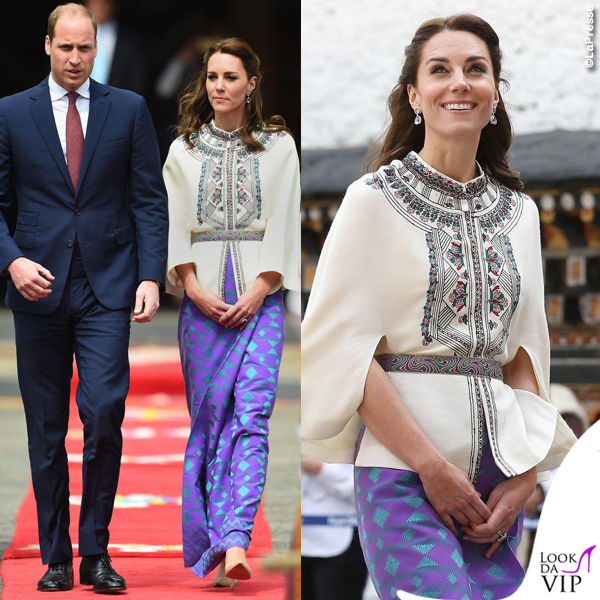 Kate Middleton India quinto giorno camicia Paul & Joe pump LK Bennett orecchini Kiki McDonough 2