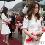 Kate Middleton India settimo giorno top gonna Alexander McQueen pump e clutch LK Bennett orecchini Kiki McDonough 2