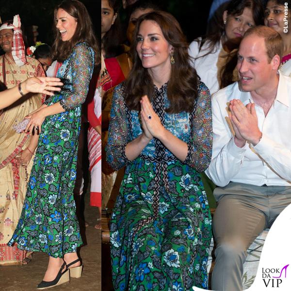 Kate Middleton India terzo giorno abito Anna Sui zeppe Pied a Terre 2