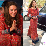 Kate Middleton India terzo giorno abito Glamorous ballerine Russell and Bromley orecchini Accessorize 2