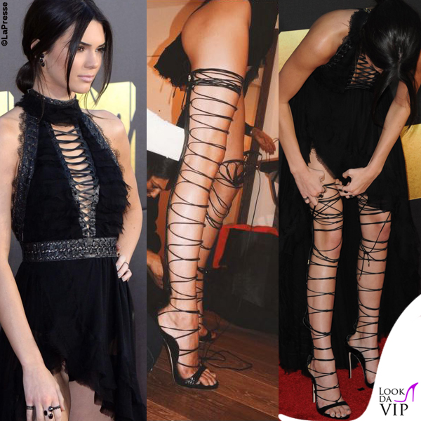 Kendall Jenner Mtv Movie Awards abito Kristian Aadnevik sandali Dsquared2