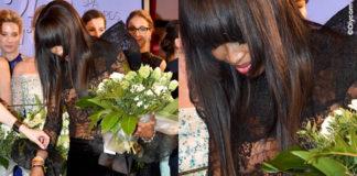 Naomi Campbell Gala Spa Awards abito Peierre Cardin scarpe Nike Dunk Lux High by Riccardo Tisci