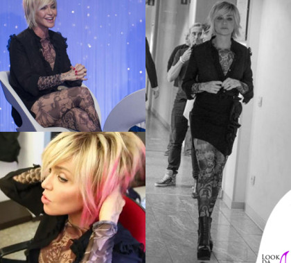 Paola Barale Verissimo camicia e gonna Amen, tuta Dsquared2, stivali Bruno Bordese