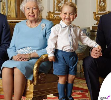 Regina Elisabetta e principe George completo Rachel Riley