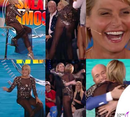 Simona Ventura settima puntata Isola dei Famosi abito Elisabetta Franchi sandali Christian Louboutin