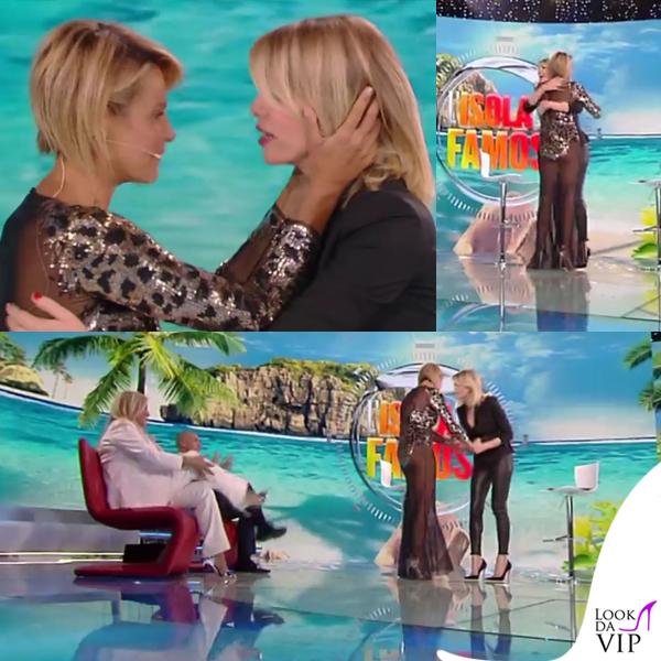 Simona Ventura settima puntata Isola dei Famosi abito Elisabetta Franchi sandali Christian Louboutin 6