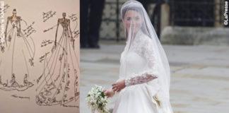 matrimonio duchi William e Catherine 29 aprile 2011 abito Alexander McQueen sketch Catherine Kendall