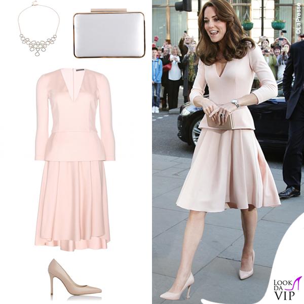 Kate Middleton abito McQueen scarpe clutch LKBennet collana Monica Vinader 2