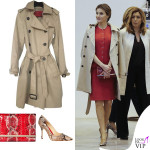Letizia Ortiz tailleur Nina Ricci trench clutch scarpe Carolina Herrera 2