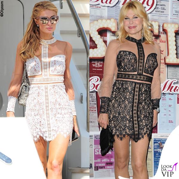Paris Hilton e Patrizia Pellegrino abito For Love and Lemons