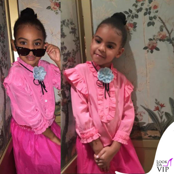 Blue Ivy Carter camicia Gucci occhiali Ray-Ban Wayfarer