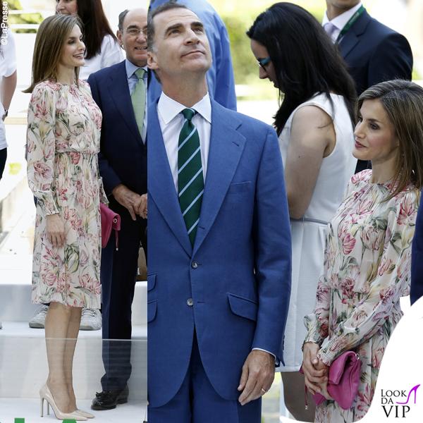 Letizia Ortiz di Spagna abito e orecchini Zara, clutch Alfonso Dominguez, pump Prada 6