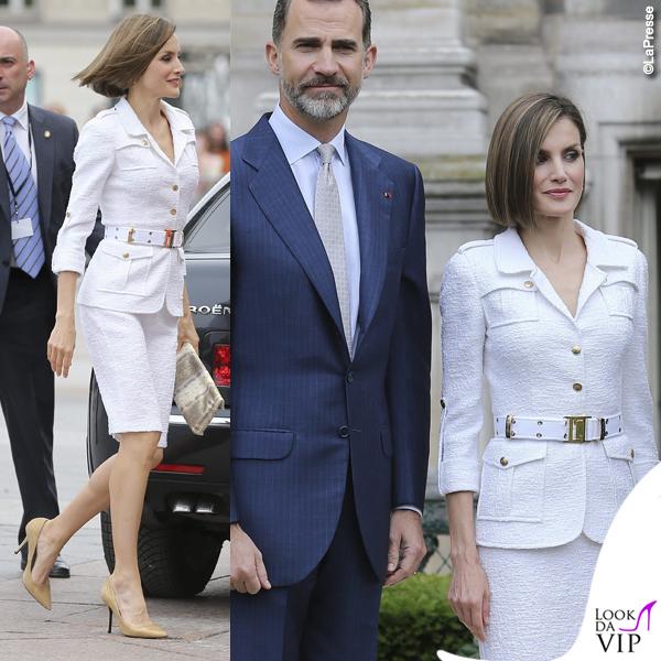 Letizia Ortiz tailleur bianco Felipe Varela clutch Adolfo Dominguez scarpe Uterque