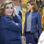 Letizia Ortiz tailleur pelle blu Hugo Boss maglia Mango borsa Loewe