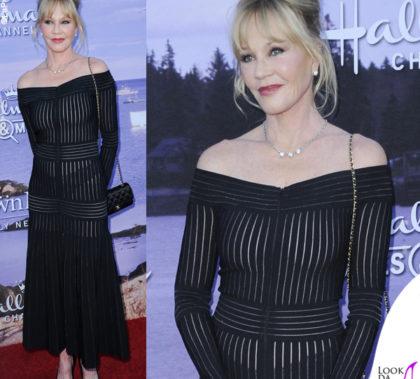 Melanie Griffith abito Barbara Casasola borsa Chanel Flap