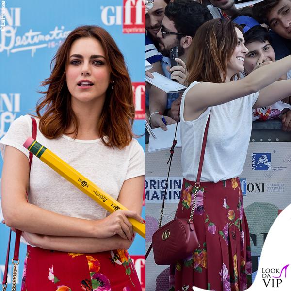 Miriam Leone gonna, borsa, sandali Gucci tshirt HM
