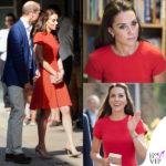 Kate Middleton rosso fuoco… con Carlo
