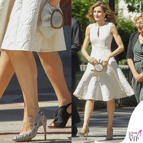 Letizia Ortiz abito orecchini Carolina Herrera borsa Malababa 'Minihontas' scarpe Magrit 'Mila'