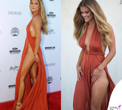 Nina Agdal abito Alamour The Label sandali Stuart Weitzman collana Mara Carrizo Scalise