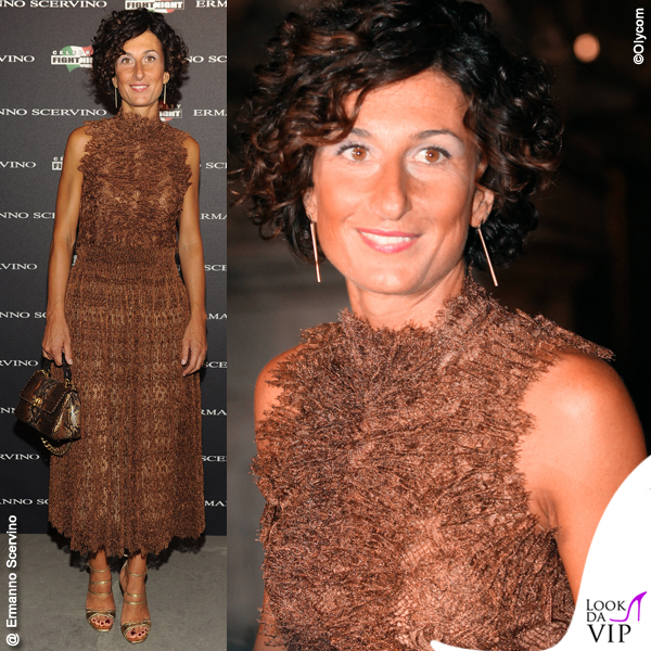Agnese Landini Renzi Celebrity Fight Night Italy abito borsa Ermanno Scervino