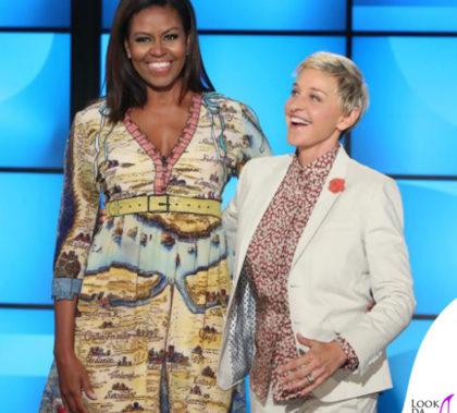 The Ellen Show Michelle Obama abito Gucci Ellen DeGeneres