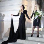 Arrivees au defile Haute Couture Versace printemps/ete 2014 a Paris Vips alle sfialte di Versace tra cui Lady Gaga