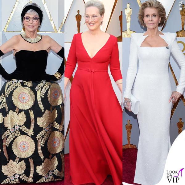 Jane Fonda Meryl Streep Rita Moreno Oscar2018 abiti Balmain Dior Couture ok