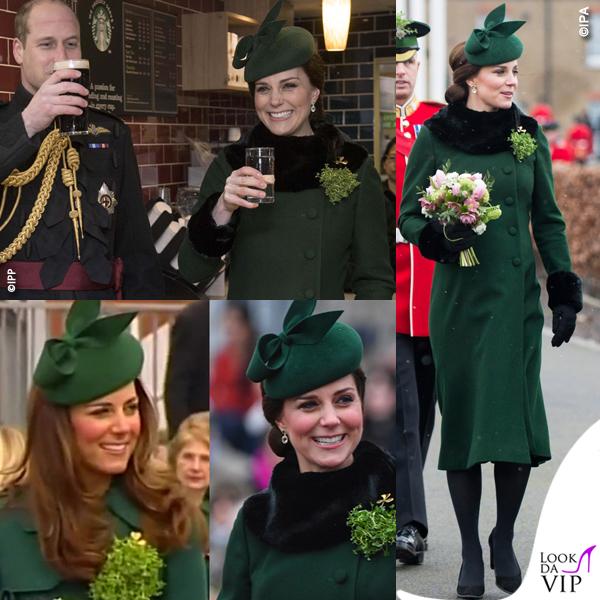 Kate Middleton San Patrizio cappotto Catherine Walker scarpe Tod's cappello Gina Forster OK3