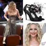 Jennifer Lawrence Oscar 2018 abito Dior scarpe Roger Vivier