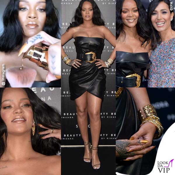 Rihanna Fenty Beauty for Sephora abito Versace scarpe Tom Ford Caterina Balivo