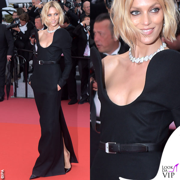 Anja Rubik Cannes 2018 abito Saint Laurent by Anthony Vaccarello