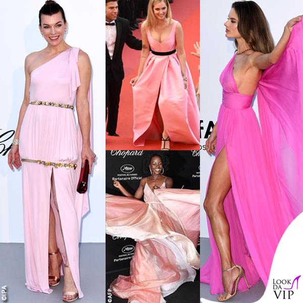 Cannes rosa Milla Jovovich Chiara Ferragni Alessandra Ambrosio Lupita Nyong'o
