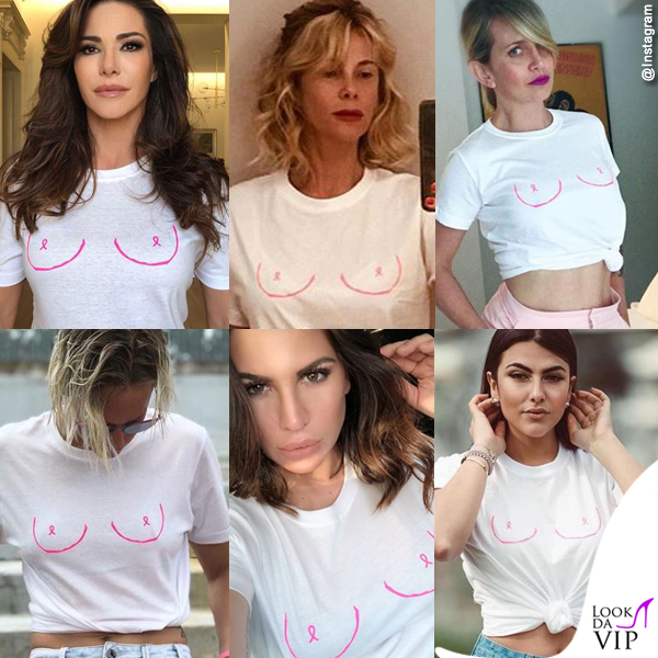 Emanuela Folliero Alessia Marcuzzi Katia Pedrotti Federica Pellegrini Claudia Galanti Giulia Salemi Glimmed Pink Boobs T-Shirt